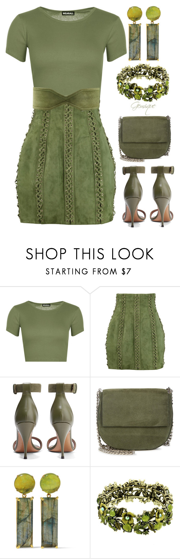 """""""Olive Green"""" by gemique ❤ liked on Polyvore featuring WearAll, Balmain, Givenchy, Gvyn and Bounkit"""