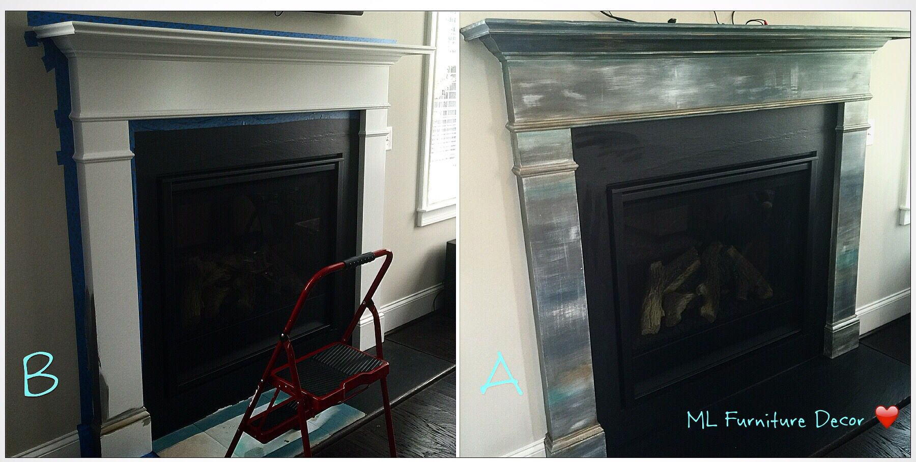 Before and after fireplace mantel refinishing before and after