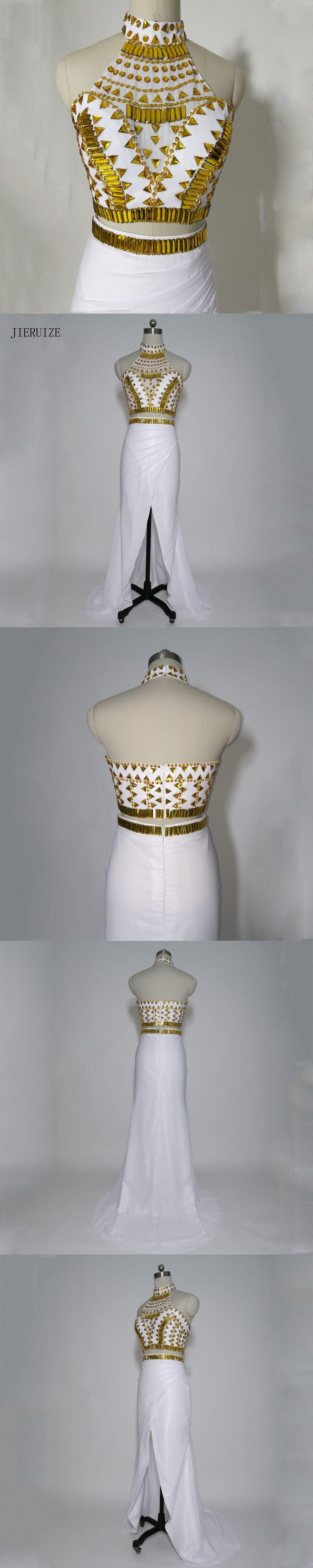Jieruize white chiffon gold crystals two piece long prom dresses