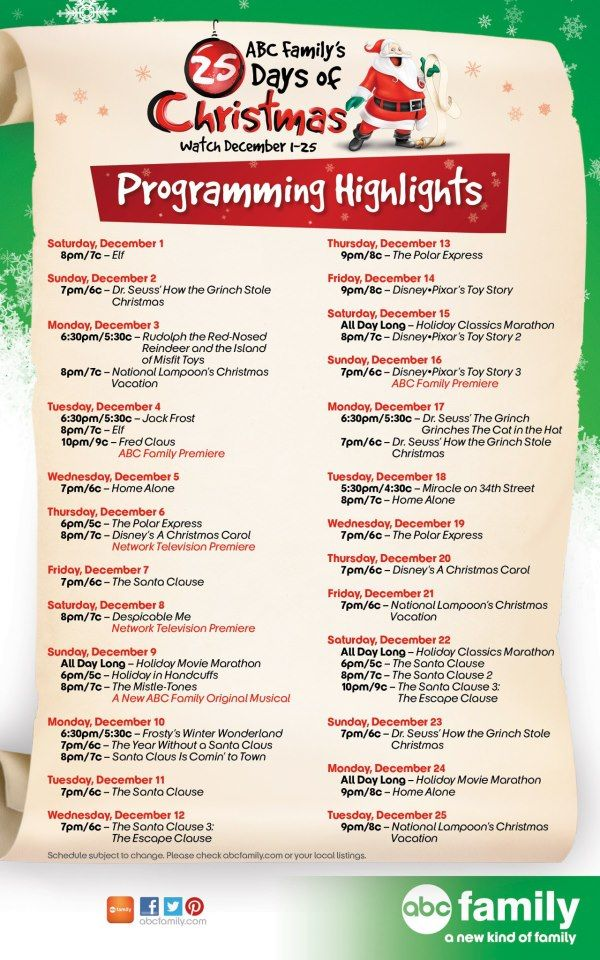 Abc Family S 25 Days Of Christmaas Programming Highlights Schedule