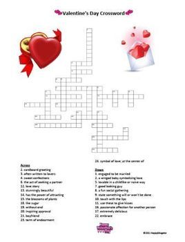 valentines day crossword puzzle for middle school teacherspayteachers valentines valentines. Black Bedroom Furniture Sets. Home Design Ideas