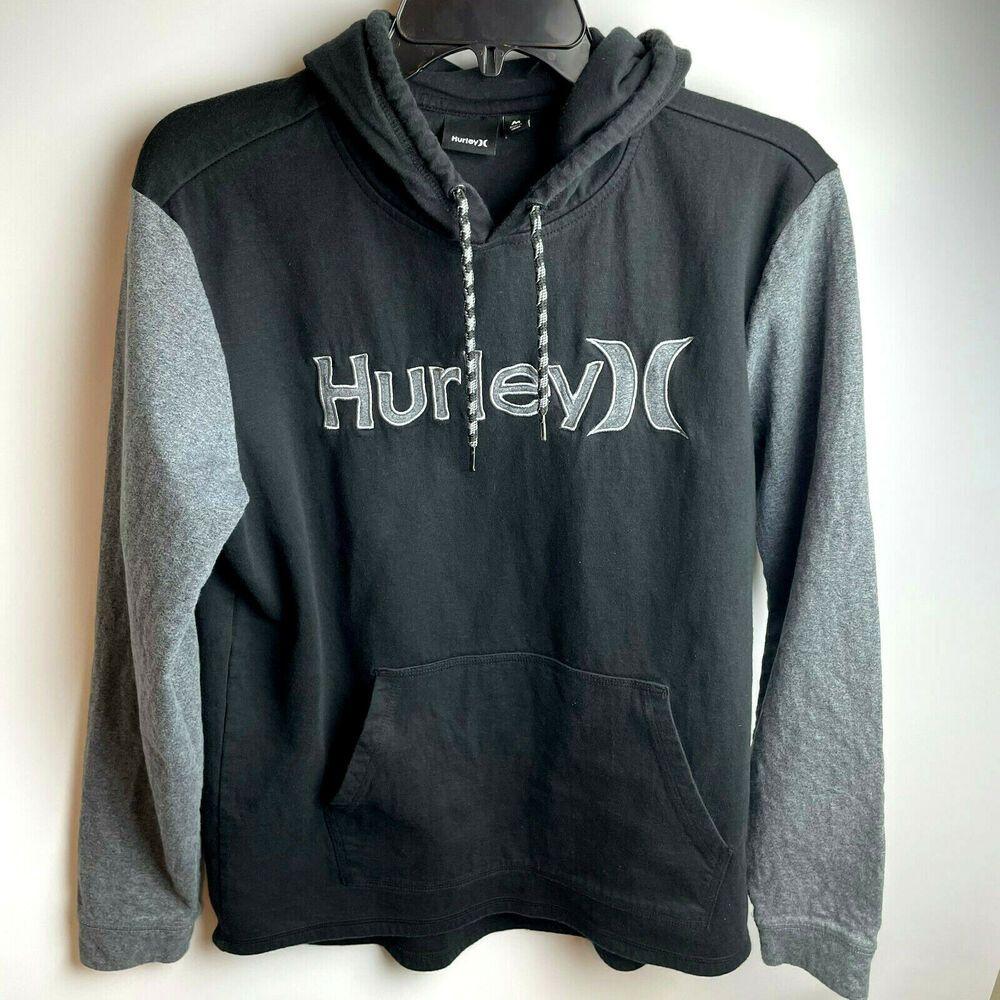 Hurley Mens Medium Pullover Hoodie Black Gray Spellout Sweatshirt Hurley Pullover In 2021 Black Hoodie Hoodies Hurley Mens [ 1000 x 1000 Pixel ]