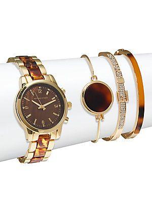 6fbb2ca6c6fa09 Adrienne Vittadini Tortoise Shell Bracelet Watch   Bangle Bracelet ...