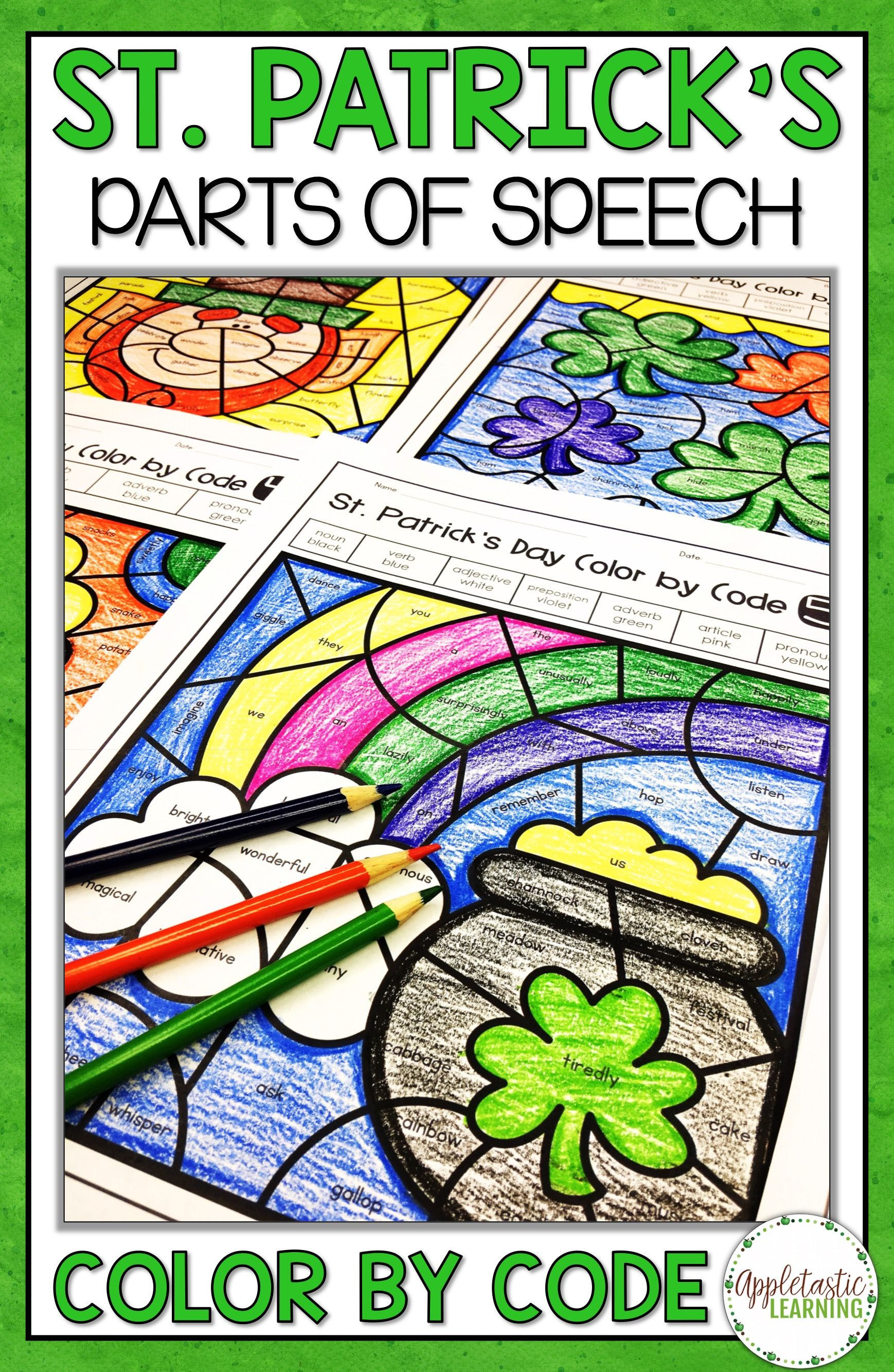 St Patrick S Day Coloring Sheets Parts Of Speech Color By