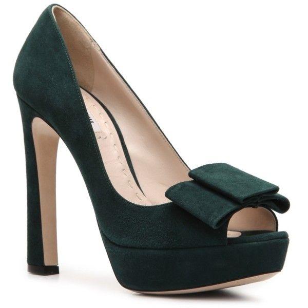 5698a294d4d2 Miu Miu Suede Peep Toe Platform Bow Pump - Emerald Green ❤ liked on Polyvore