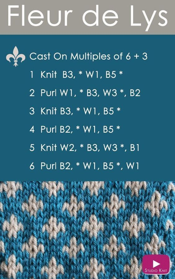 How to Knit the FLEUR DE LYS Easy Free Knitting Pattern 2 Stranded ...