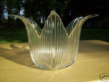 Clear-Glass-Tulip-Candle-or-Potpourri-Holder-with-Ribbed-Sides-and-Flared-Top 11.50 OBO