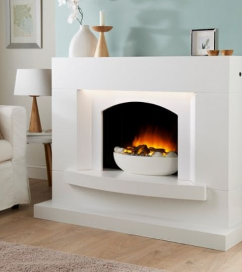 Excelsior electric fire suite marfil finish select fireplaces home ideas pinterest - Fireplace finish ideas ...