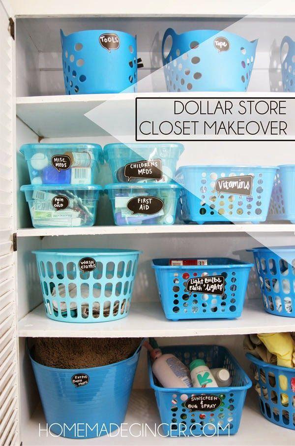 Dollar Store Closet Makeover. Dollar Store BinsDollar Store OrganizationBathroom  OrganizationOrganizing IdeasBathroom ...