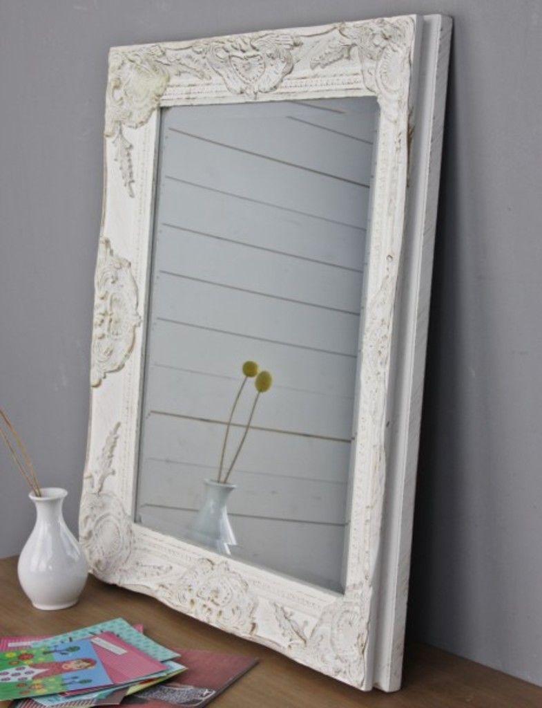 Spiegel Weiss 62 X 52cm Holz Neu Wandspiegel Barock Badspiegel