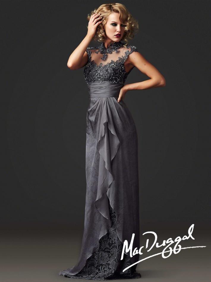 Illusion Neckline Formal Gown   Mac Duggal 80238D