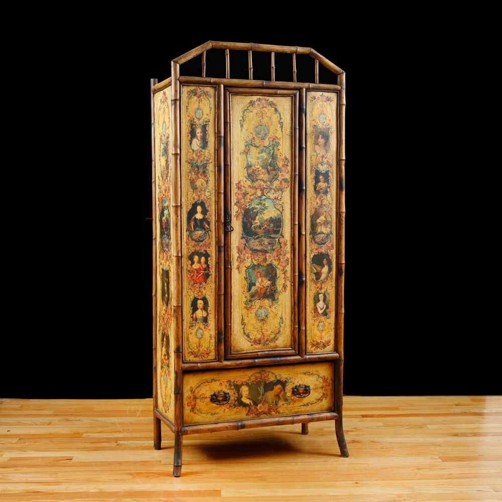 Charmant English Bamboo Wardrobe Or Armoire With Decoupage, C. 1880 .