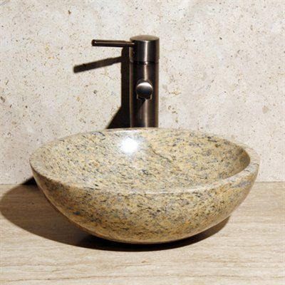 Allstone Group V-VR14-Honed-Cafe Blanc Round Vessel Sink Master - Vessel Sinks Bathroom