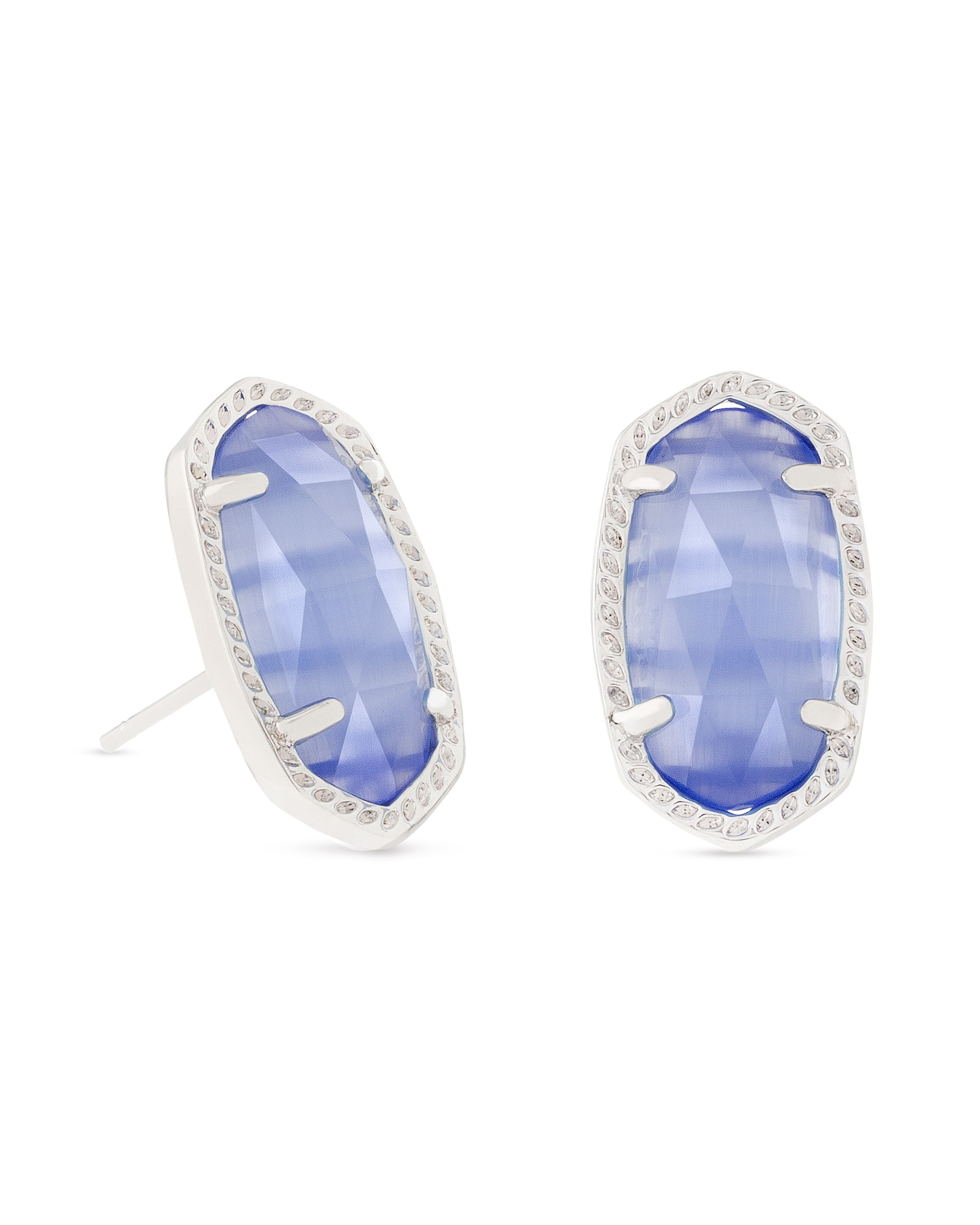 4a56addfd Ellie Silver Stud Earrings in Periwinkle Cat's Eye - Kendra Scott Jewelry