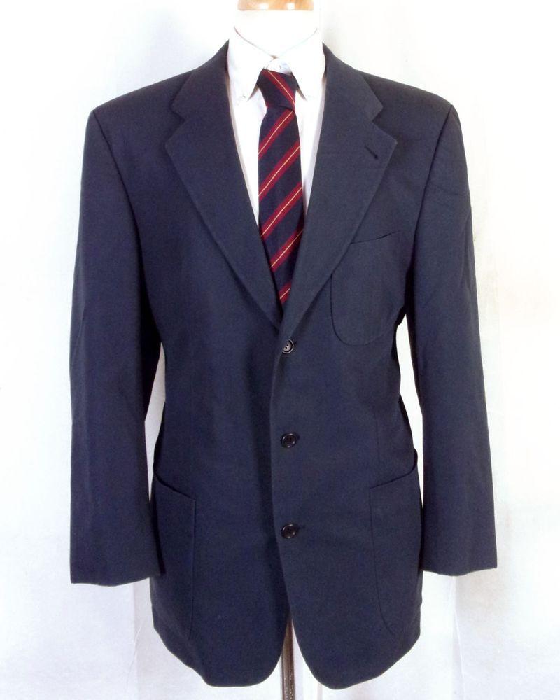 d94d46af2 euc Hugo Boss Navy Cotton Vincente Blazer Sportcoat Patch Pocket Germany 40  L #HUGOBOSS #ThreeButton
