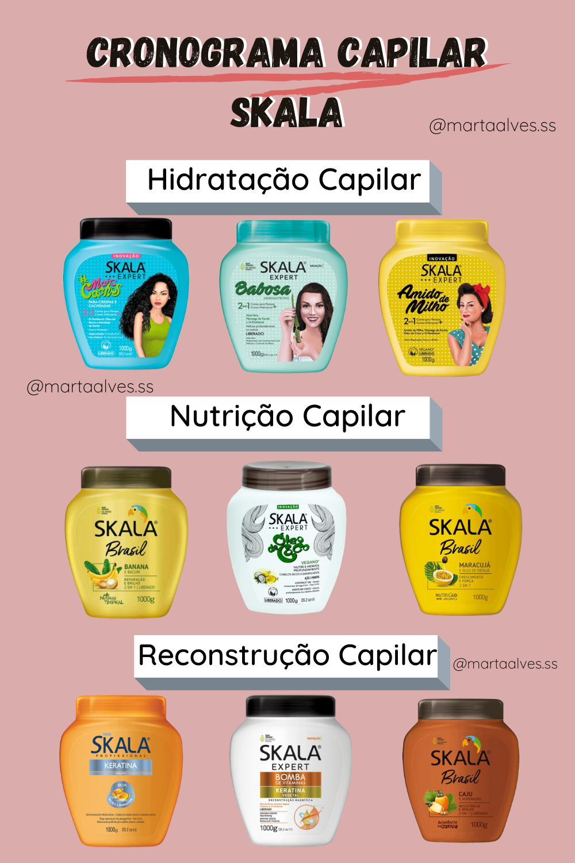 Cronograma capilar Skala liberado - como fazer hidratação, nutrição e reconstrução nos cachos