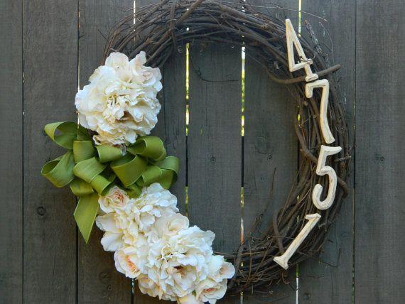 Wreath, Door Wreath, Floral Wreath, Outdoor Wreath, Front Door Wreath, Address Wreath