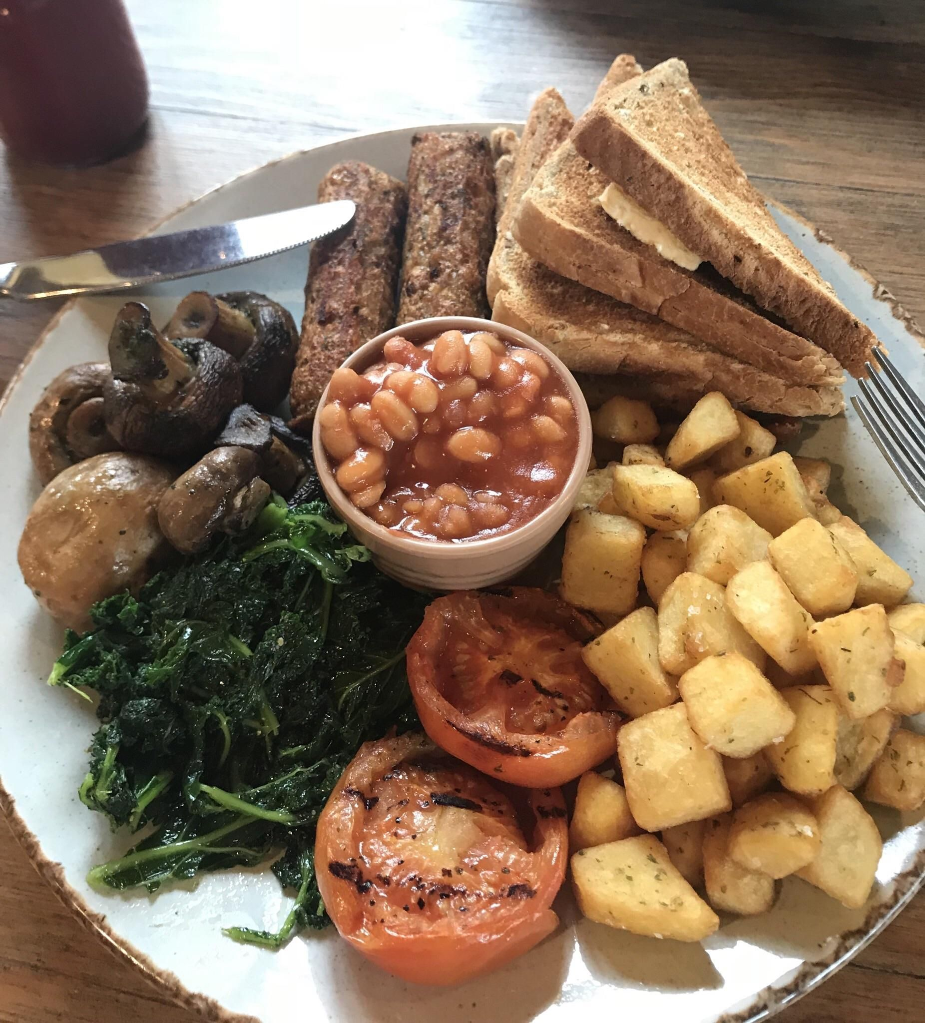 Delicious vegan full english at a restaurant near me