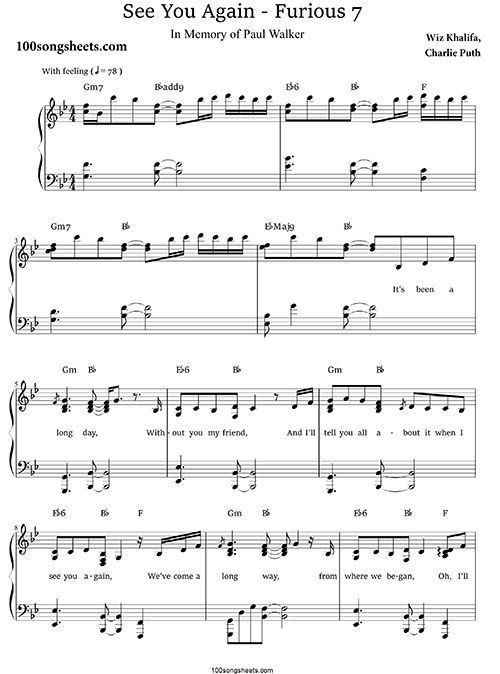 See You Again Charlie Puth Free Sheet Music Piano Sheet Music
