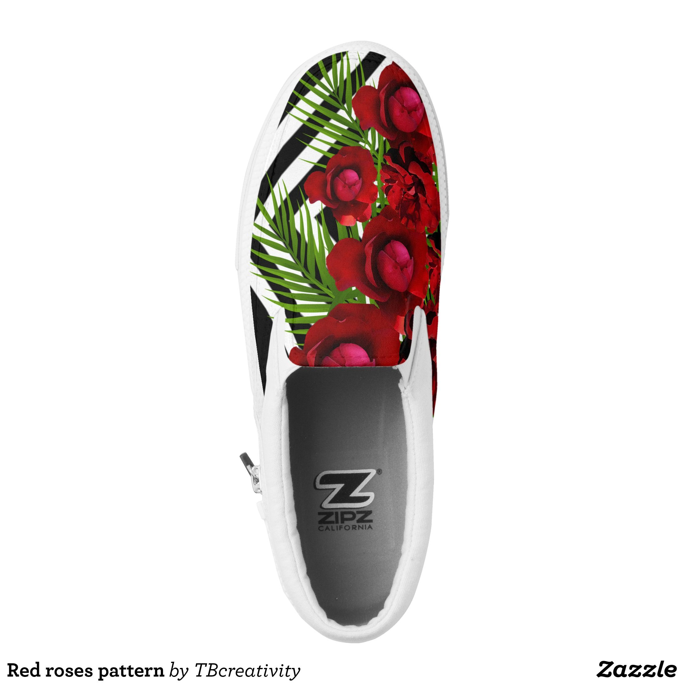 Red Roses Pattern Slip On Sneakers Zazzle Com Slip On Sneakers Painted Shoes Slip On