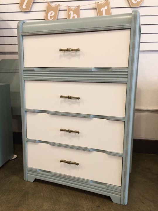 Antique Waterfall Chest Of Drawers Painted By The