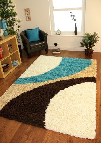 Helsinki 1960 Teal Blue Brown Cream Thick Pile Soft Next Style Shaggy Rugs