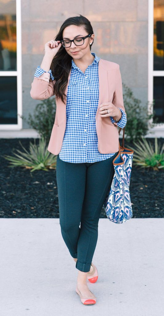 7f4d1b83e3c Modest Goddess thrifted business casual outfit - gingham and blush blazer  modest business casual outfit
