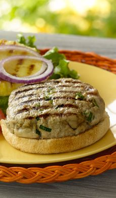 Hawaiian Tuna Burger - Pump up the flavor and cut the cholesterol with these healthy grilled tuna burgers topped with juicy pineapple slices.