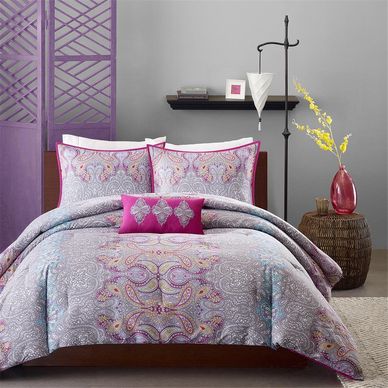 MiZone Keisha Comforter Set Twin/Twin XL Size Fuchsia