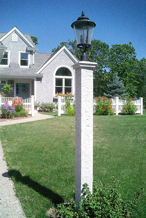 New Hampshire Grey Granite Lantern Post Cap Pineapple Finish Lantern Post House Exterior Lamp Post
