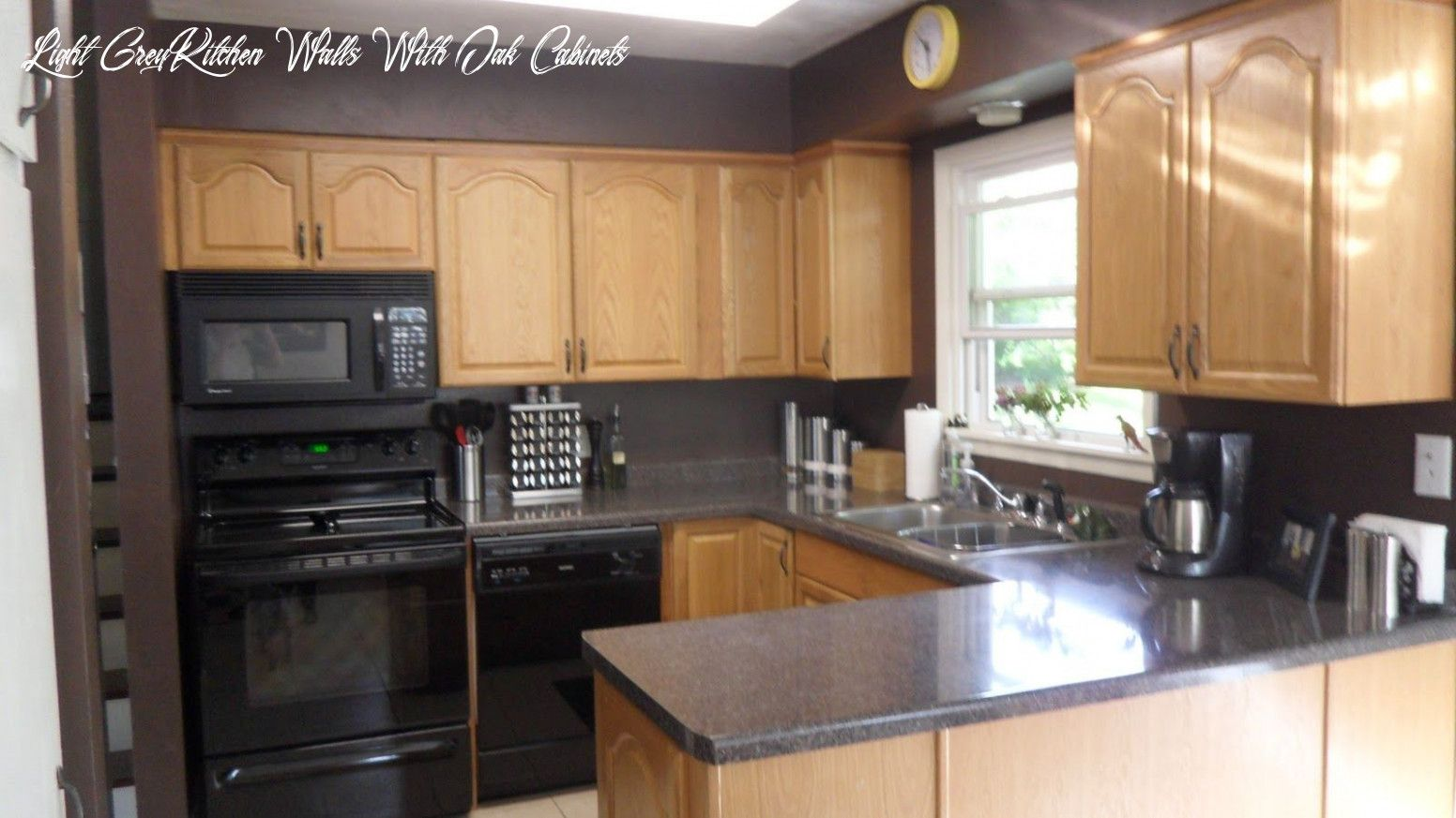 grey kitchen walls with oak cabinets