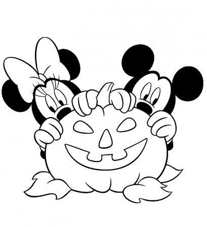 Halloween Coloring Pages Mickey Mouse Minnie Pumpkin Lots Of