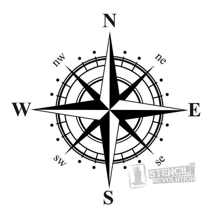 Compass Stencil Nautical Compass Rose Design on Reusable