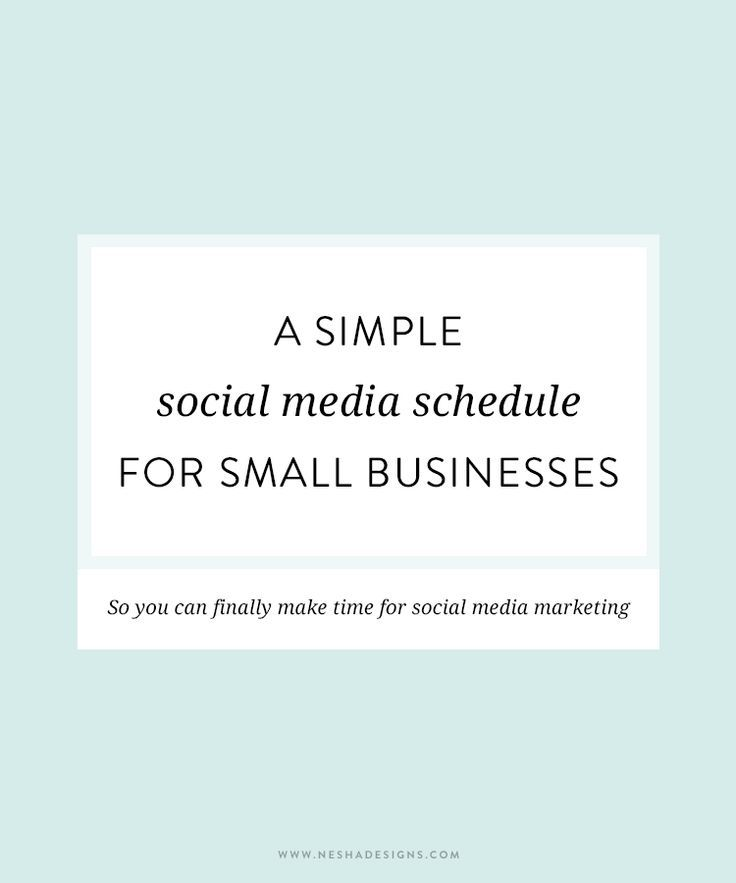 A Simple Social Media Schedule For Small Businesses  Schedule