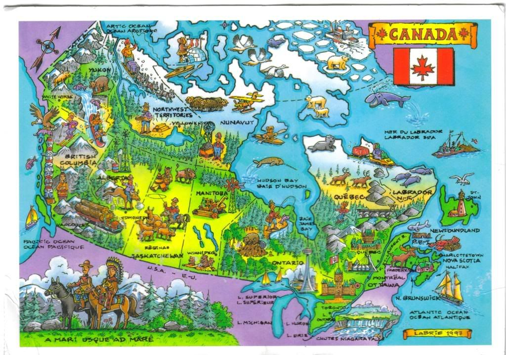 Illustrated Map Of Canada Labrie 1997 Map Canada