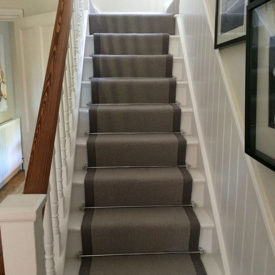 Pennells Carpets Grey Stair Runner With Chrome Bars