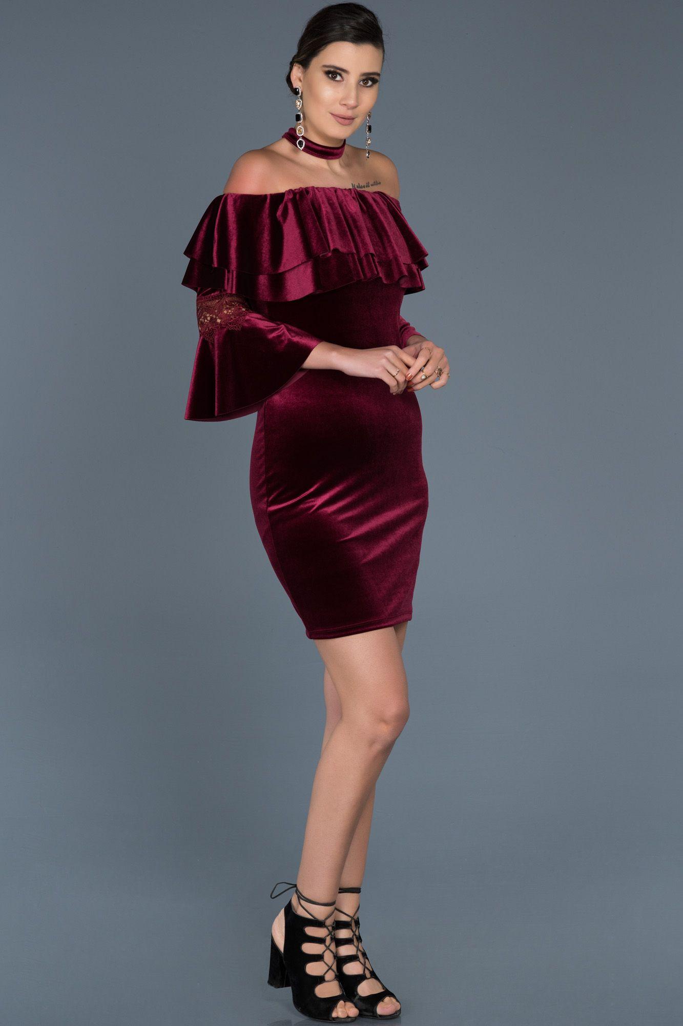 Bordo Madonna Yaka Kadife Elbise Abk329 Kisa Elbiseler Elbise The Dress