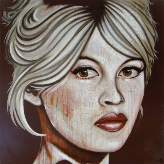 Harold Aspers  'Bardot' acryl en epoxy op paneel, 120 x 120 cm, 2016