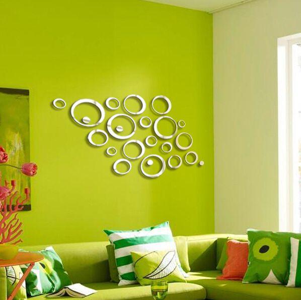 24PCS Circle 3D DIY Home Decor TV Wall Sticker Decoration Mirror ...