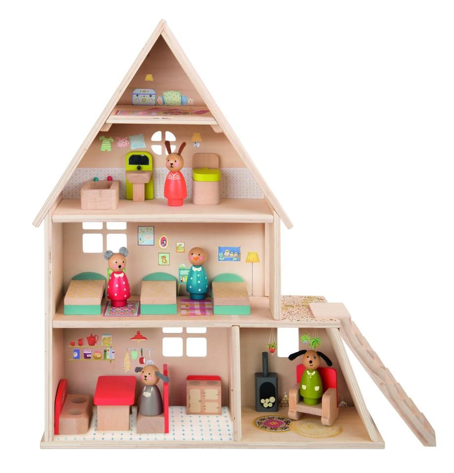 . Doll House with Furniture   Toys   Wooden dollhouse  Dollhouse