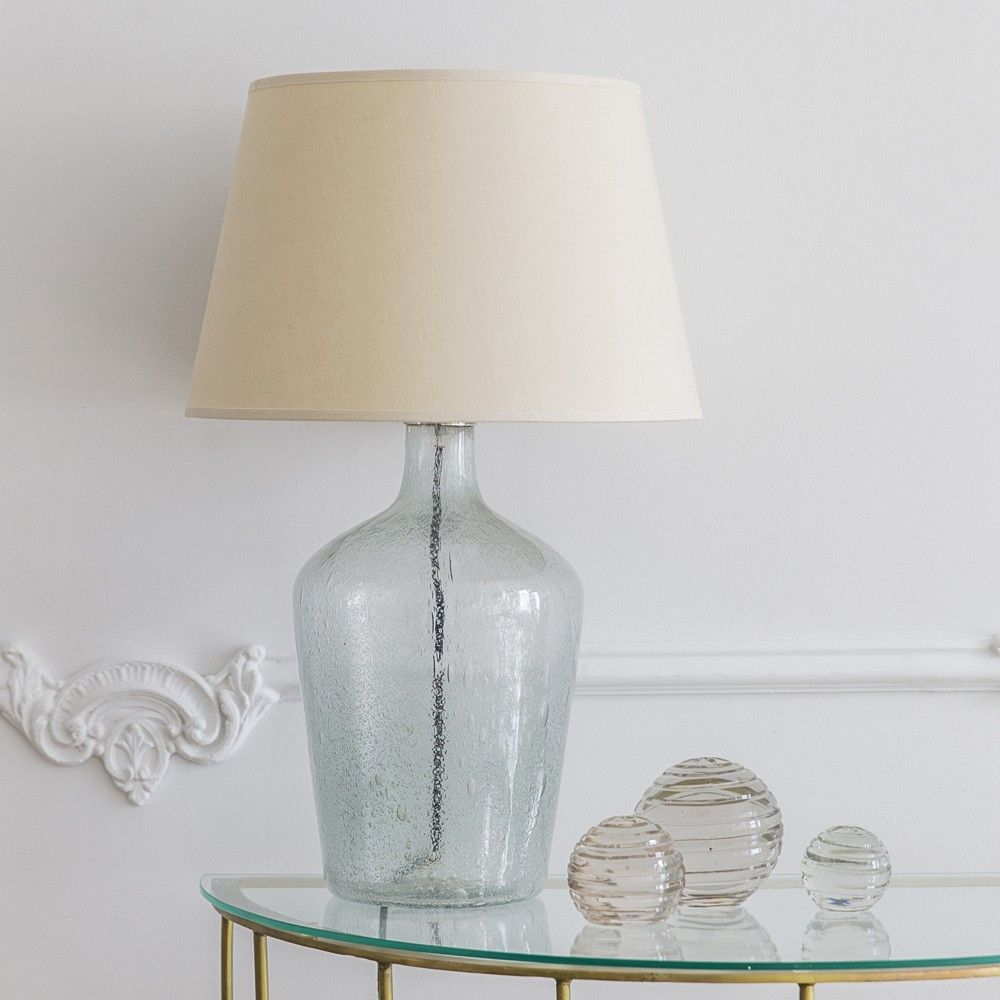 Genie hand blown glass table lamp with linen shade lighting genie hand blown glass table lamp with linen shade mozeypictures Images