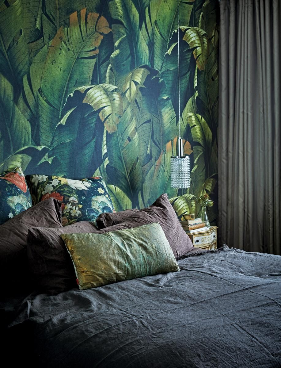 A Textured Plant Filled Apartment In Cape Town House And Leisure Wallpaper Bedroom Feature Wall Apartment Luxury Duvet Covers Bedroom wallpaper cape town