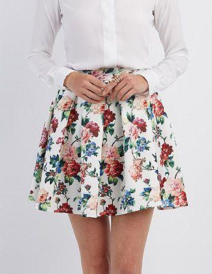Floral Print Skater Skirt #CharlotteLook