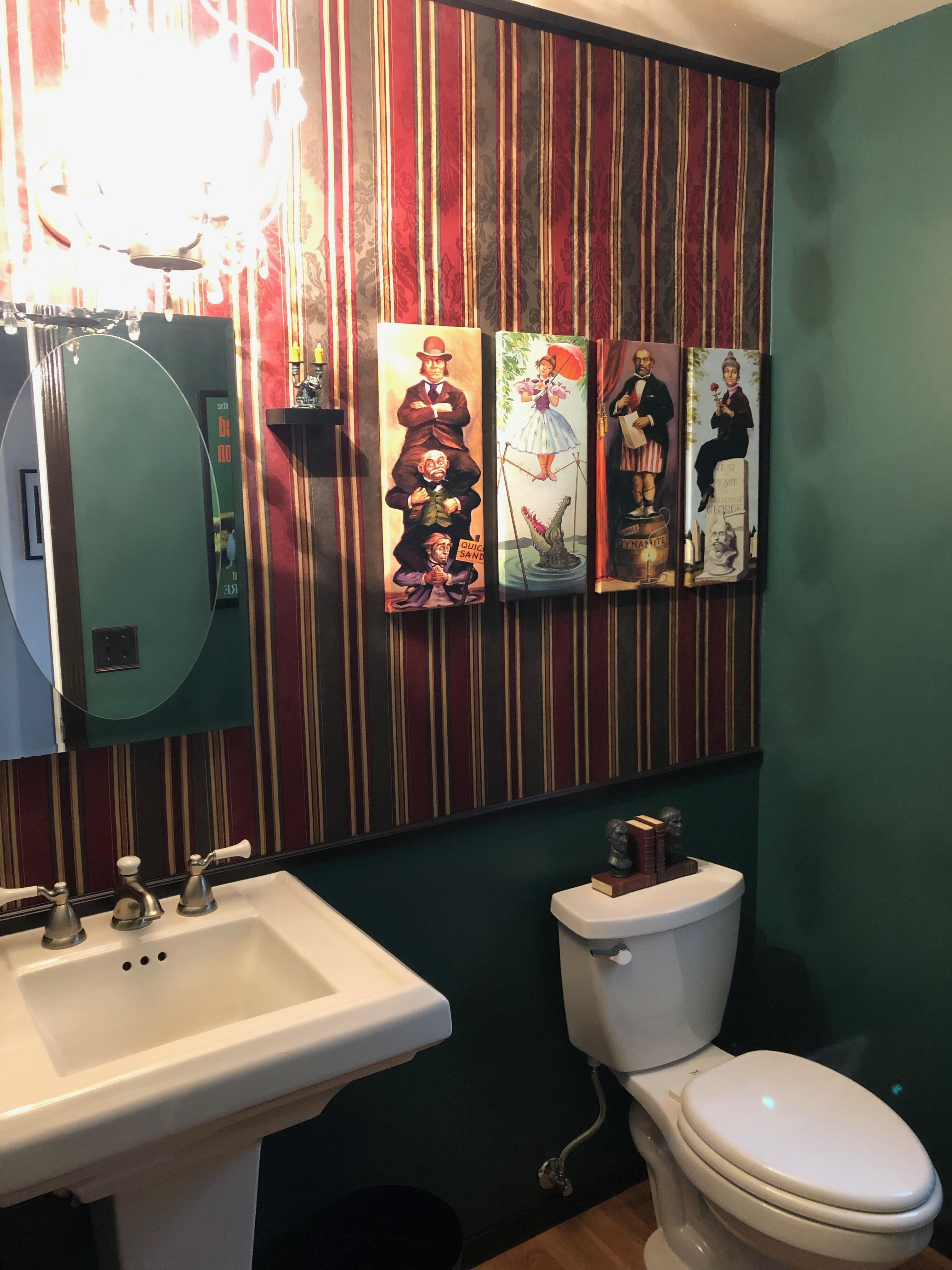 Because Powder Rooms Are Supposed To Be Fun And Eclectic My New Haunted Mansion Bathroom In 2020 Mansion Bathrooms Haunted Mansion Decor Disney Bathroom