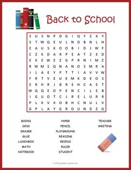 Free printable: Word search: A fun, school related find-a-word for ...