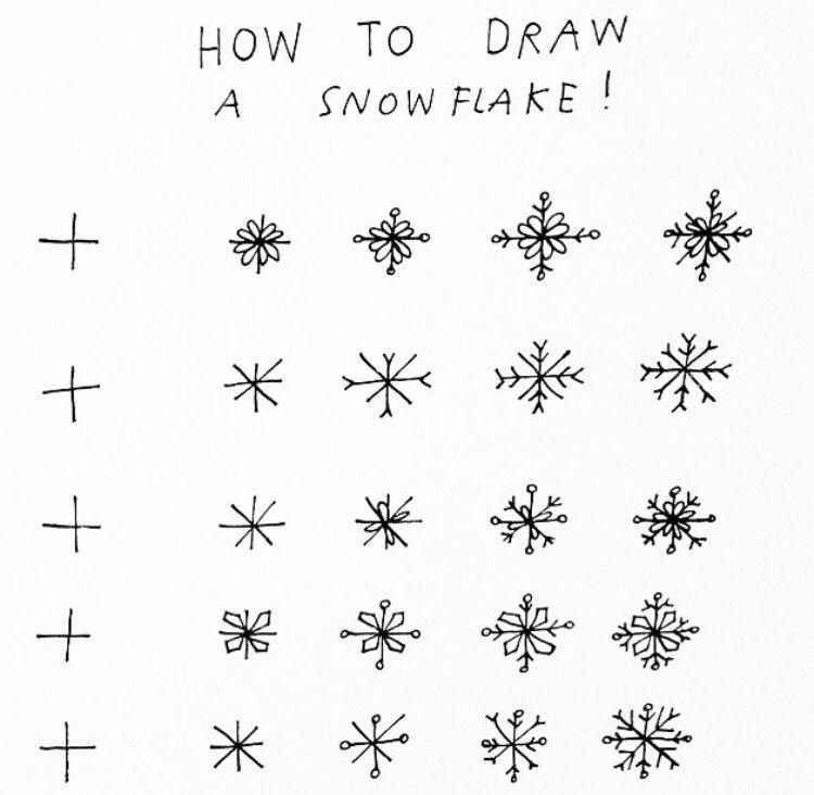 5 different ways to draw a snowflake   Draw   Pinterest   Nieve ...