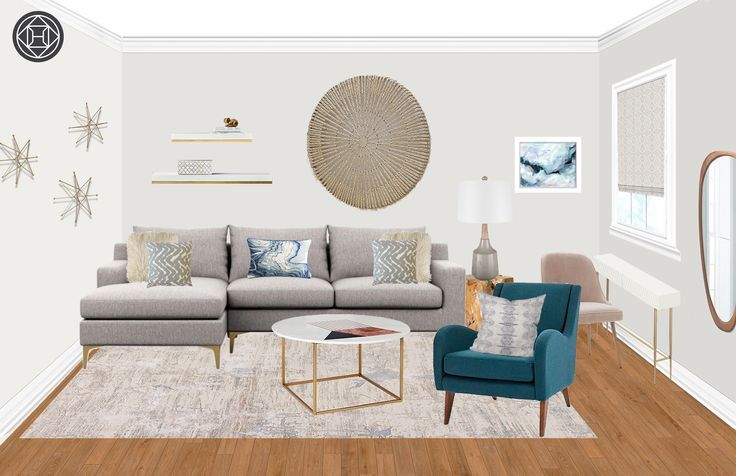 Eclectic Glam Midcentury Modern Living Room Design by Havenly Interior Designer Kristine #havenlylivingroom