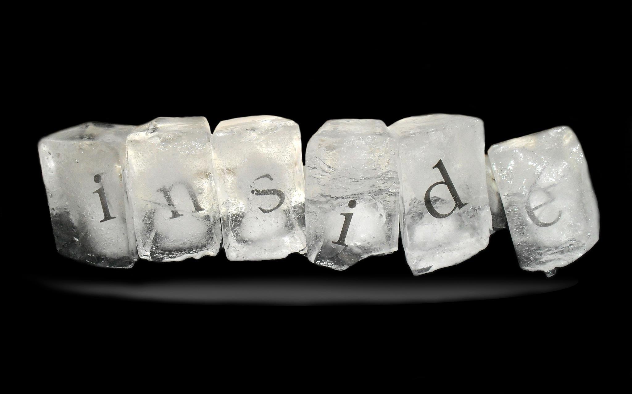 Three dimensional ice typography.