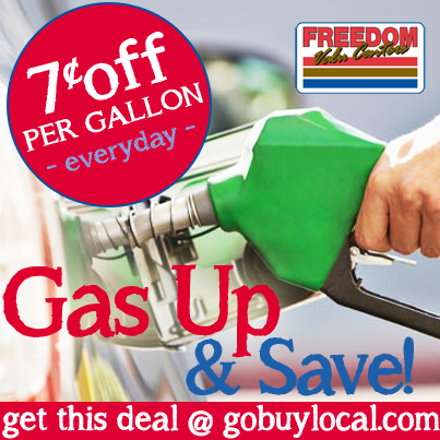 Get 7¢ OFF per gallon at Freedom Valu Center with this