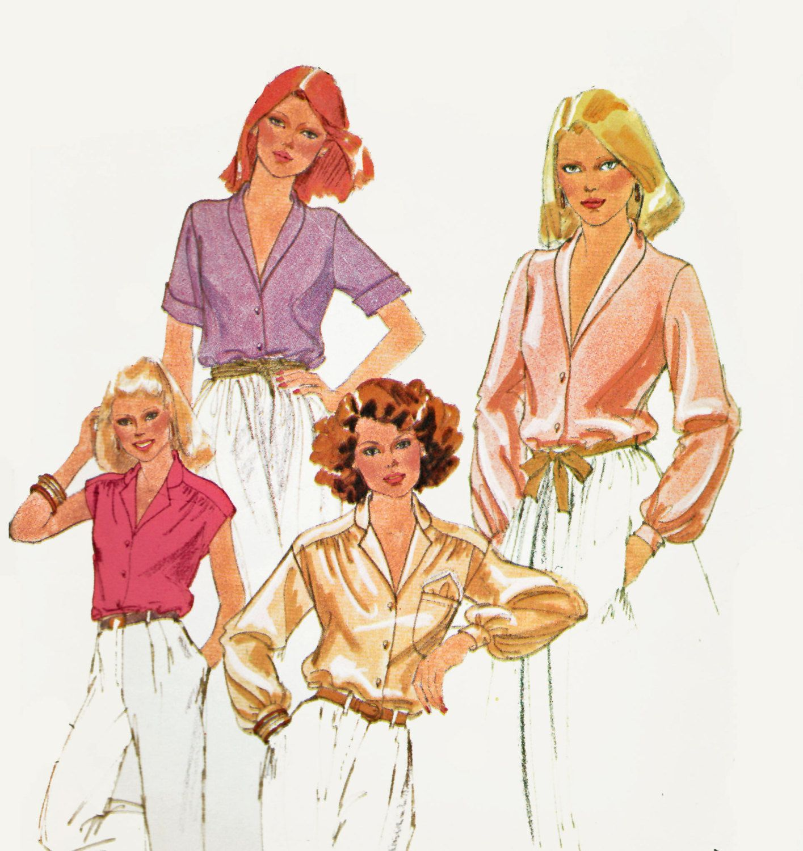 Shawl Collar Blouse Pattern Plus Size Sewing Pattern Long or Short ...